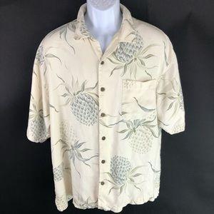 Tommy Bahama Men's White Silk Button Shirt L